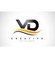 vd v d swoosh letter logo design with modern vector image vector image