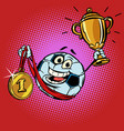 winner champion cup first place gold medal vector image vector image