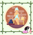 woman in the sauna steam flat vector image