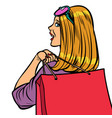 woman shopaholic sale vector image vector image