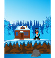 wood with river and house on nature in winter vector image