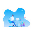 a man is working at desk with his laptop modern vector image vector image