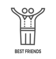 best friends line icon vector image vector image