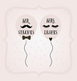 black and pink mrs lashes and mr staches balloons vector image