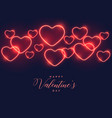 blue background with red neon hearts vector image