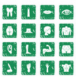 body parts icons set grunge vector image vector image
