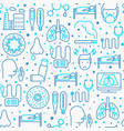 bronchitis seamless pattern with thin line icons vector image vector image