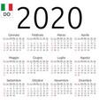 calendar 2020 italian sunday vector image vector image