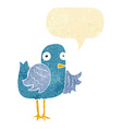 cartoon bird waving wing with speech bubble vector image