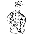 Chef cooking in kitchen vector image