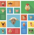 Colorful flat farm animals icons with long shadow vector image vector image