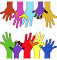 colorfull up hands vector image