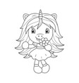 cute baunicorn holding flower coloring page vector image