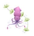 cute cartoon squid in sea vector image vector image