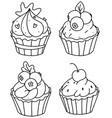 cute cupcakes coloring page cupcake setoutline d vector image