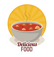 delicious food bowl soup herbs ingredients sticker vector image