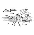 farm rural landscape sketch engraving vector image