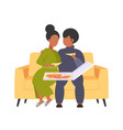 fat obese man woman sitting on couch eating pizza vector image