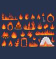 flame fire set cartoon flat vector image vector image
