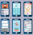 Flat collection of modern mobile phones with vector image vector image