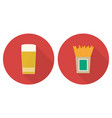 flat glass of beer and french fries vector image vector image