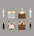 flat icons set of restaurant team and vector image