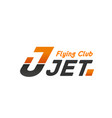 flying club jet sign vector image vector image