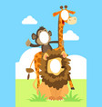 funny face in hole animals vector image
