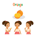 Girl With Orange Fruit Juice Ice Cream And Lette vector image vector image