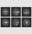 html and teamwork - six square black concepts vector image vector image
