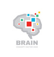 human brain - business logo template vector image