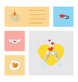 icon flat love set of mail candle wineglasses vector image vector image