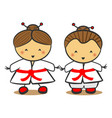 japanese children in traditional costume kimono vector image vector image