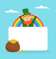 leprechaun with blank banner and pot gold coins vector image