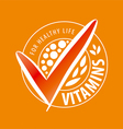 logo vitamins on orange background vector image