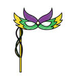 mardi gras carnival face mask with feathers and vector image