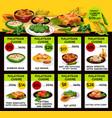 menu for malaysian cuisine restaurant vector image vector image
