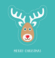 merry christmas card with reindeer face vector image
