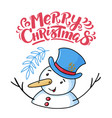 merry christmas greeting card with funny snowman vector image vector image