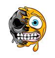 monster half skull emoticon with big smile vector image vector image