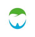 negative space dental care blue green symbol vector image vector image