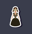 paper sticker on stylish background doll in dress vector image vector image