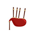 red bagpipes icon flat style vector image
