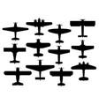 retro planes black silhouettes airplanes vector image vector image