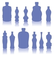 Set of Blue Bottles Silhouettes vector image vector image