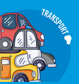 set of cartoons vehicles vector image vector image