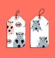 set of gift tags with fat cute piggy vector image