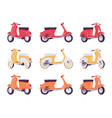 set of scooters in red yellow orange colors vector image vector image