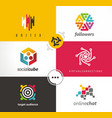 social media set of logos symbols and design vector image vector image