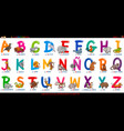 spanish alphabet with cartoon animals set vector image vector image